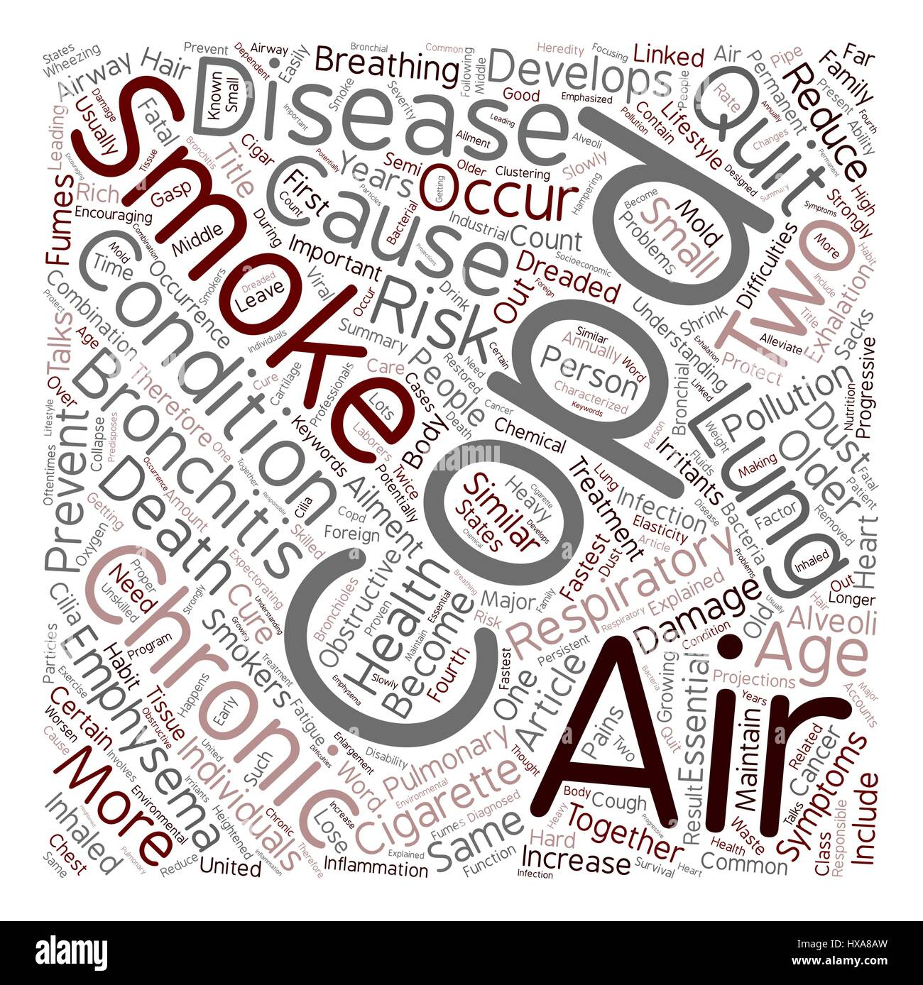 COPD Respiratory Ailment Explained text background wordcloud concept - Stock Vector
