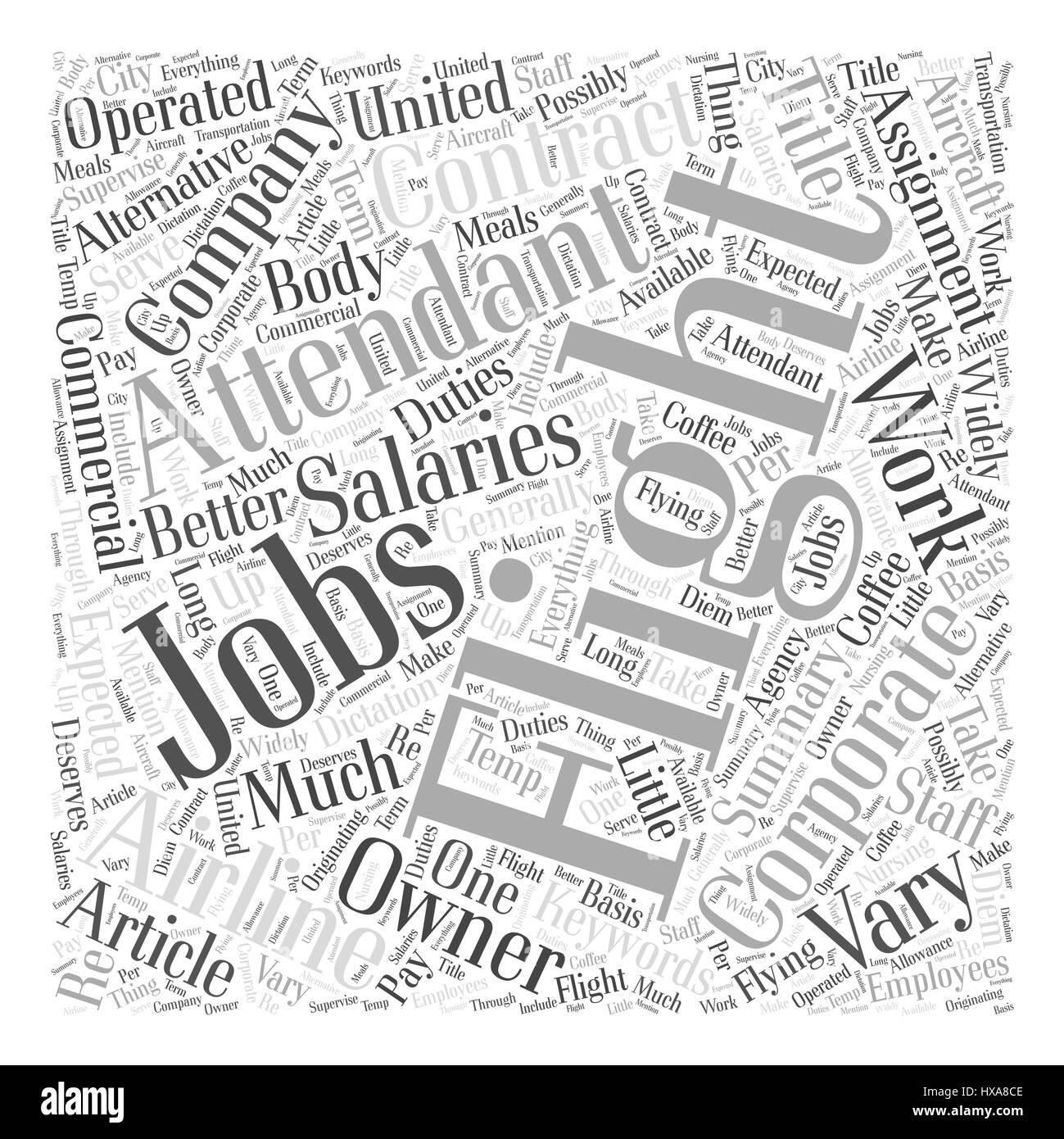 Corporate Flight Attendant Jobs An Alternative To Commercial Airlines Word Cloud Concept - Stock Image