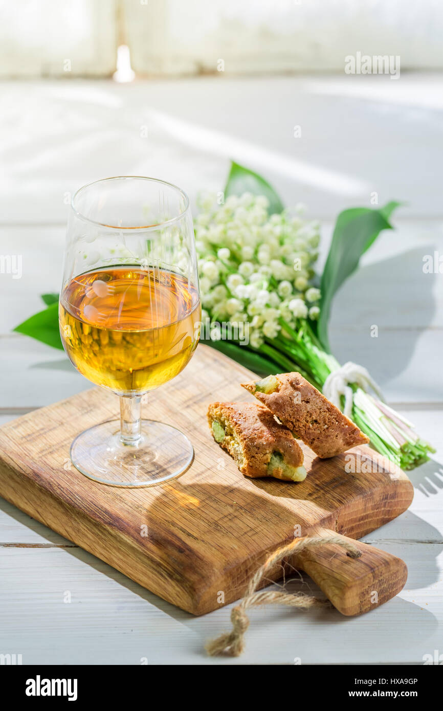 Sweet cantuccini with Vin Santo on old wooden table Stock Photo ...
