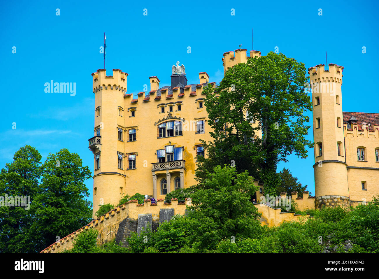 Hohenschwangau Castle or Schloss Hohenschwangau is a 19th-century palace in southern Germany. It was the childhood Stock Photo