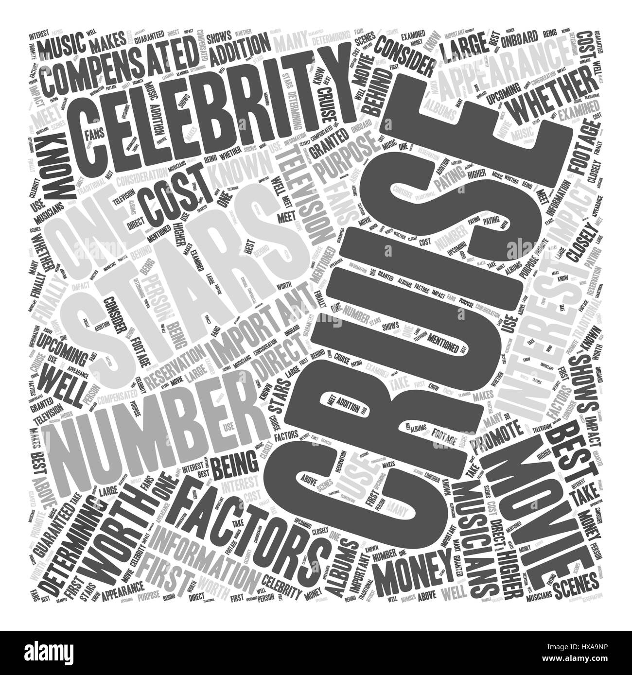 Cruising With a Celebrity Are Celebrity Cruises Worth the Money Word Cloud Concept - Stock Image