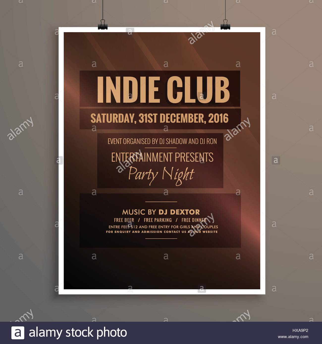 indie club dj party night flyer banner template Stock Vector Art ...