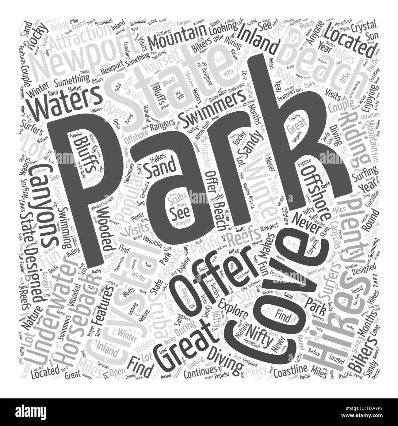 Crystal Cove State Park Word Cloud Concept - Stock Vector