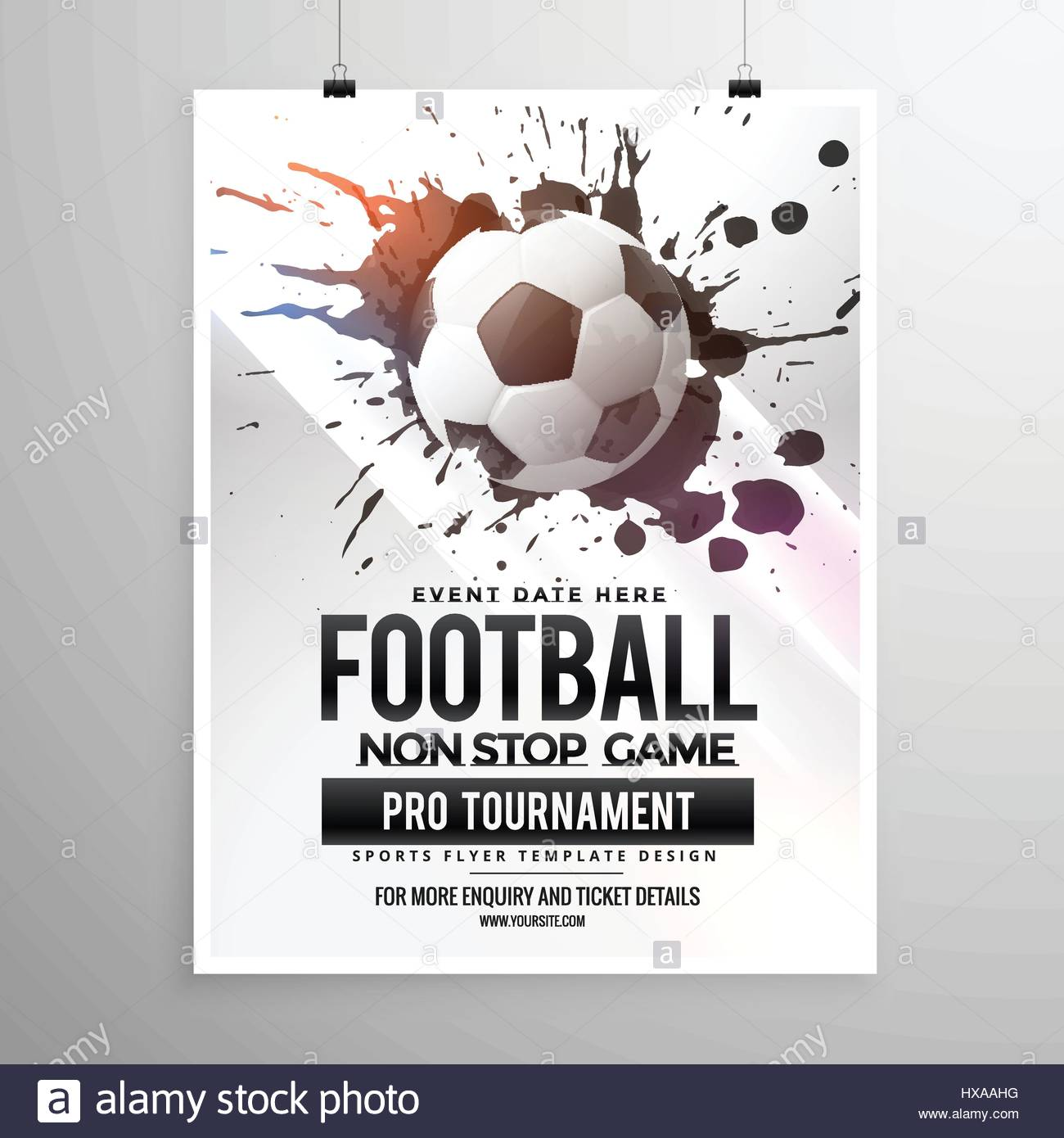 football soccer game tournament flyer brochure template stock vector