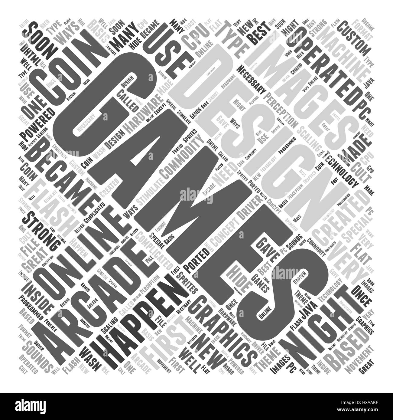 Designs for online gaming Word Cloud Concept - Stock Image