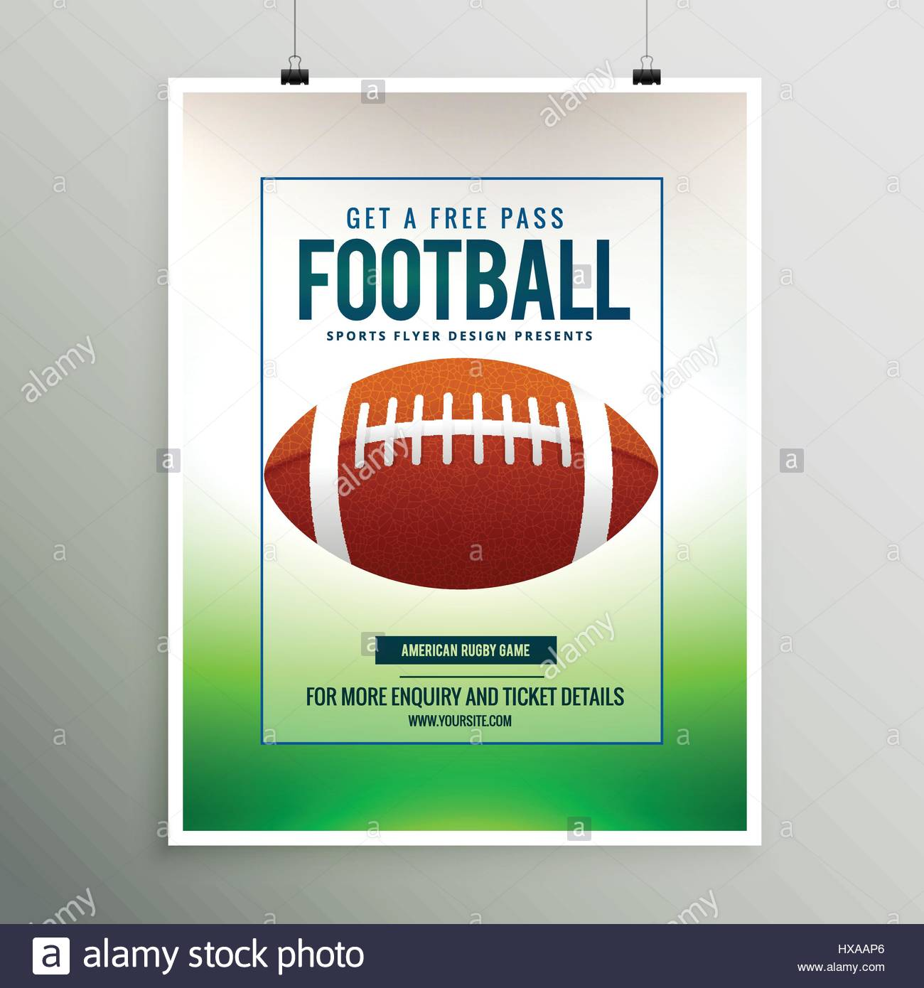rugby football game flyer template stock vector art illustration