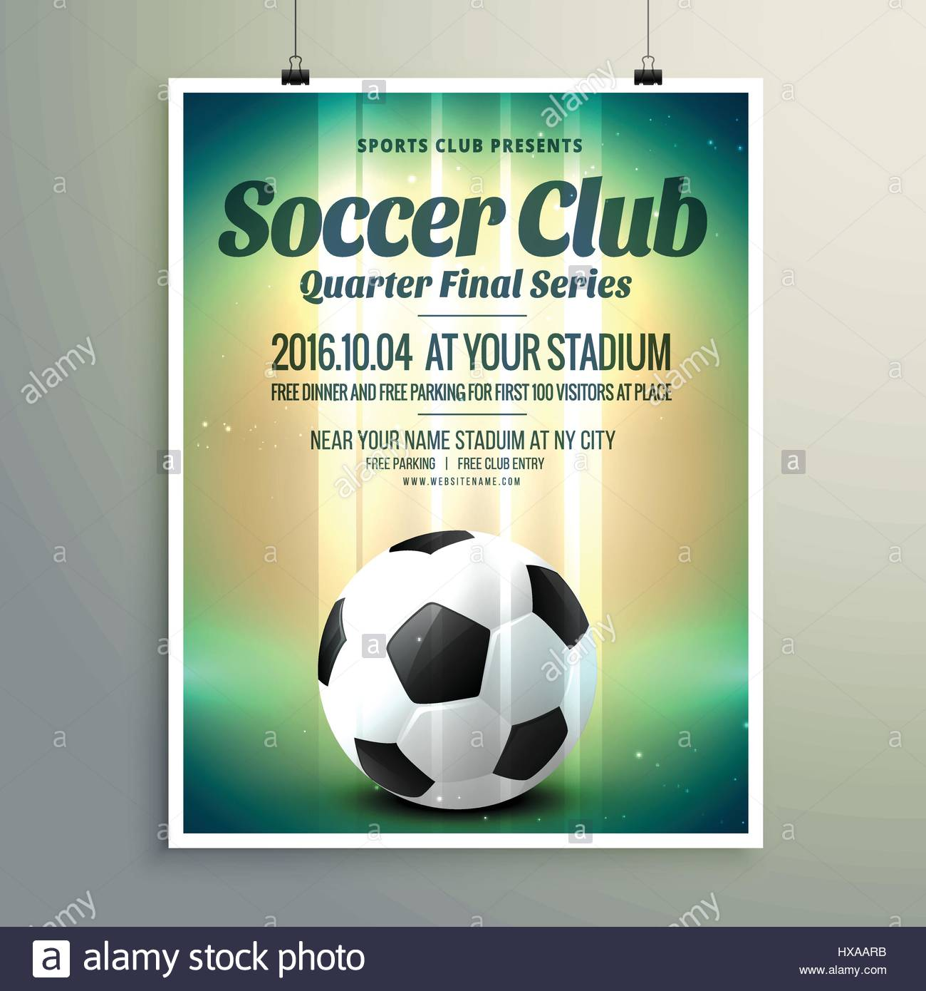 soccer cup final series flyer template - Stock Vector