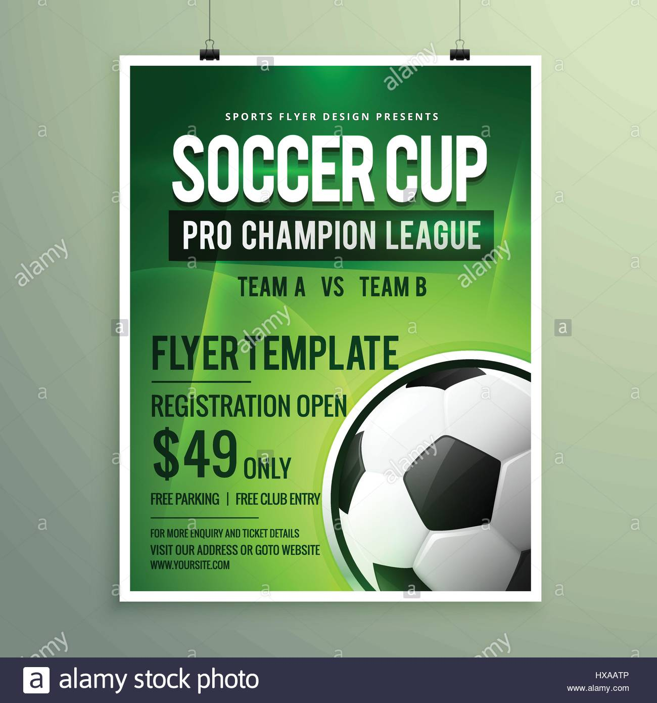 soccer league sports event flyer design stock vector art