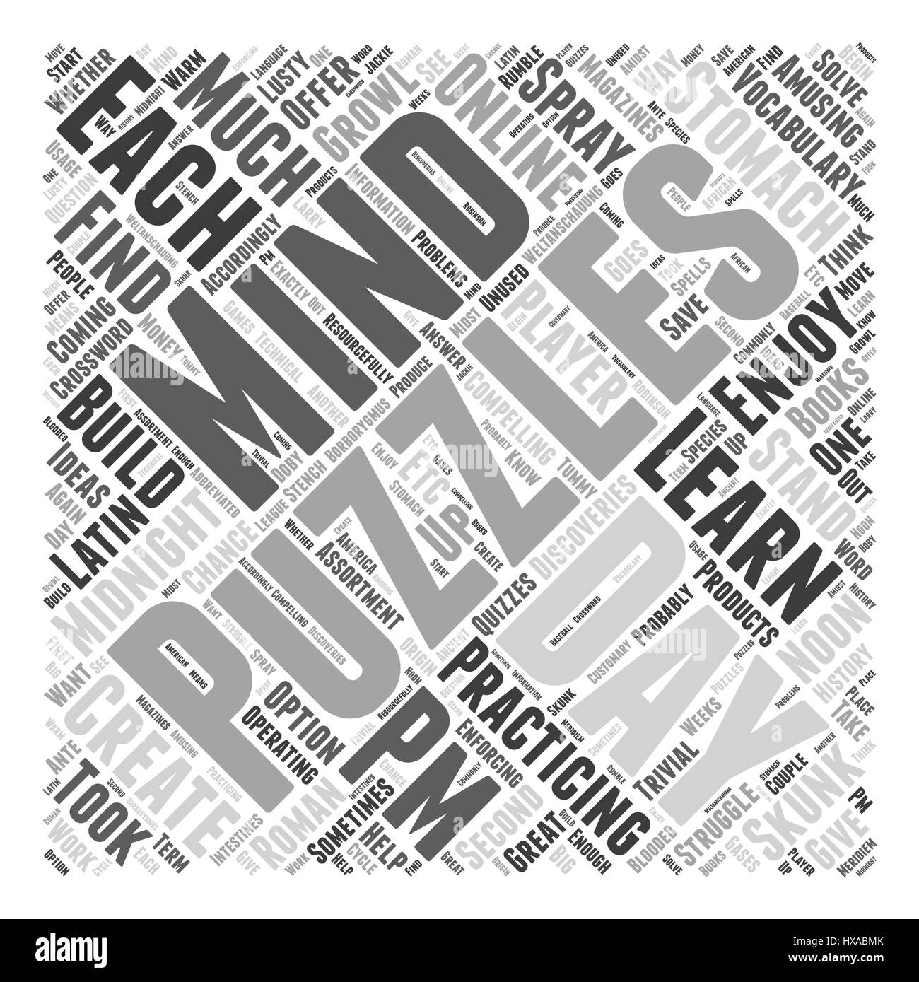 Discoveries in Mind Puzzles Word Cloud Concept - Stock Vector
