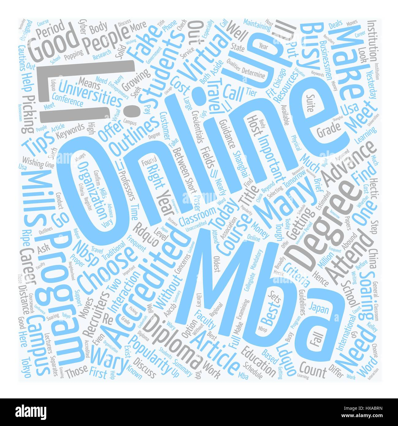 Do Online MBAs Make the Grade text background wordcloud concept - Stock Vector