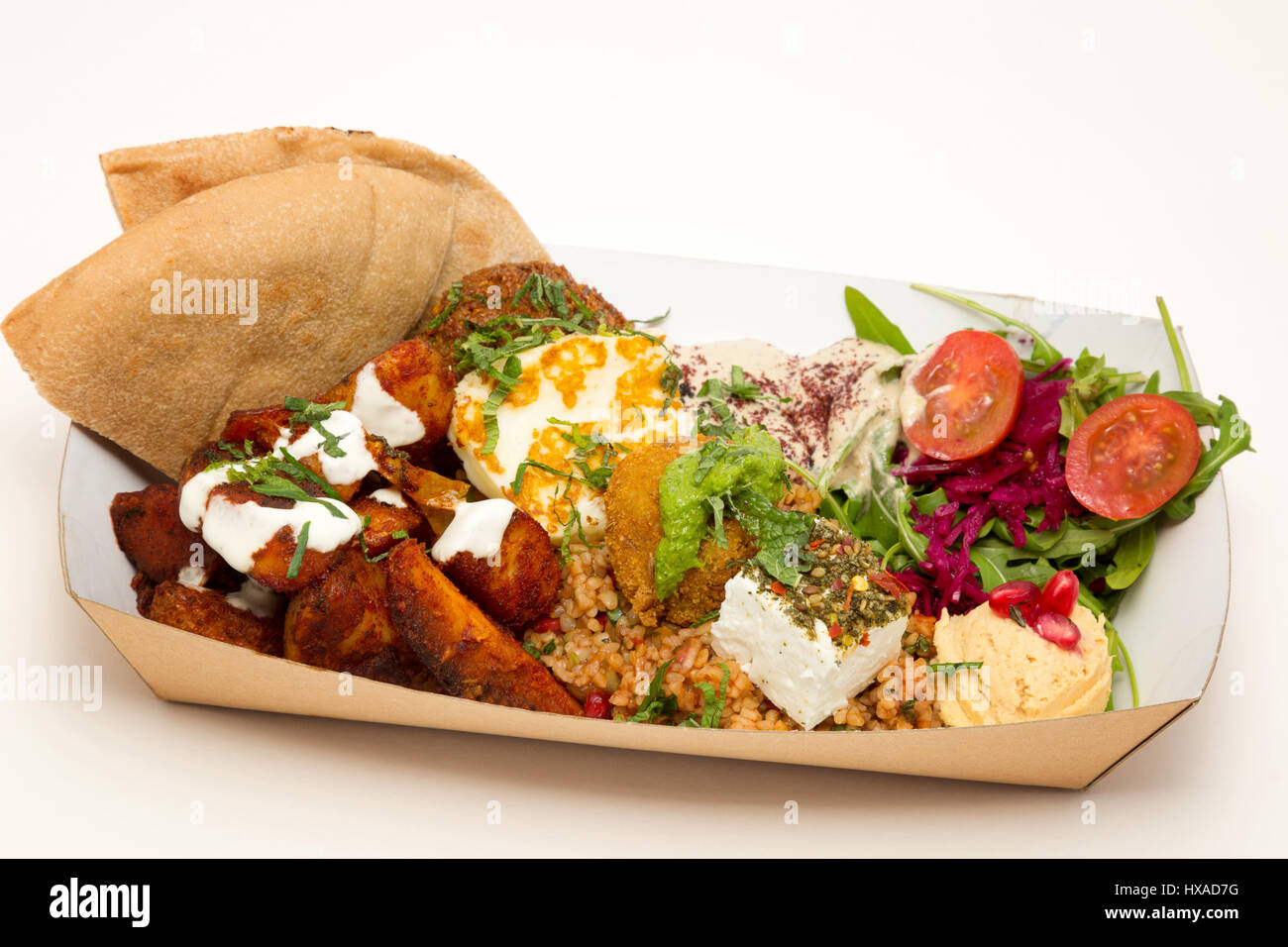 Food - Middle east food, Vegetarian food selection variety of Mezze all available as takeaway food, UK - Stock Image