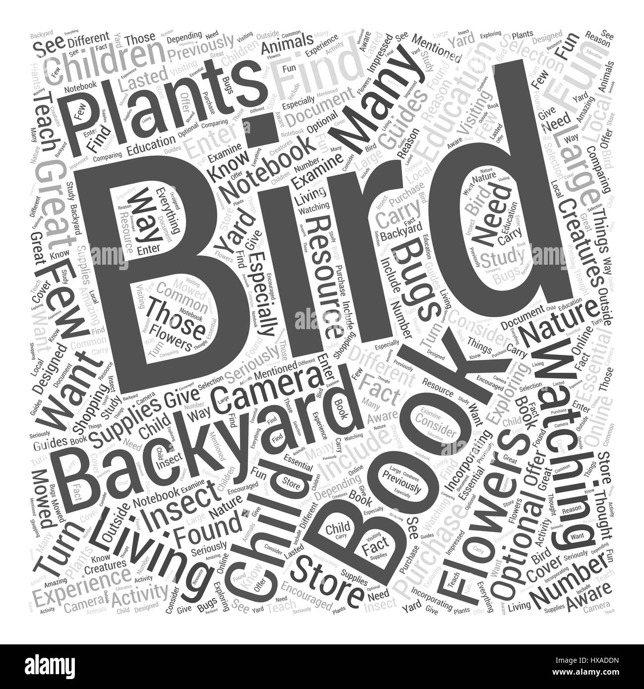 Exploring Nature with Your Child Word Cloud Concept - Stock Image