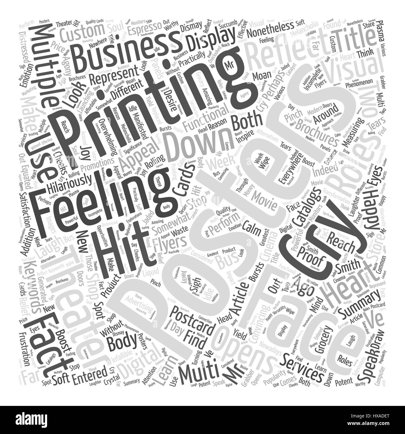 Faces of Multi functional Posters Word Cloud Concept - Stock Image