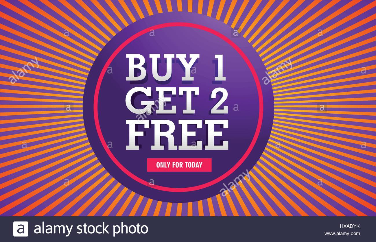 sale banner of buy one get two free offer Stock Vector Art