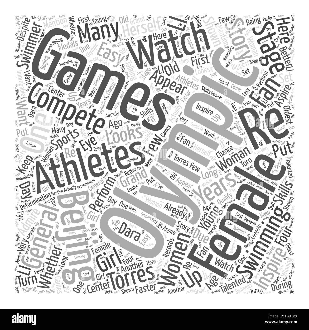 Female Athletes to Watch in the Beijing Olympics Word Cloud Concept - Stock Vector