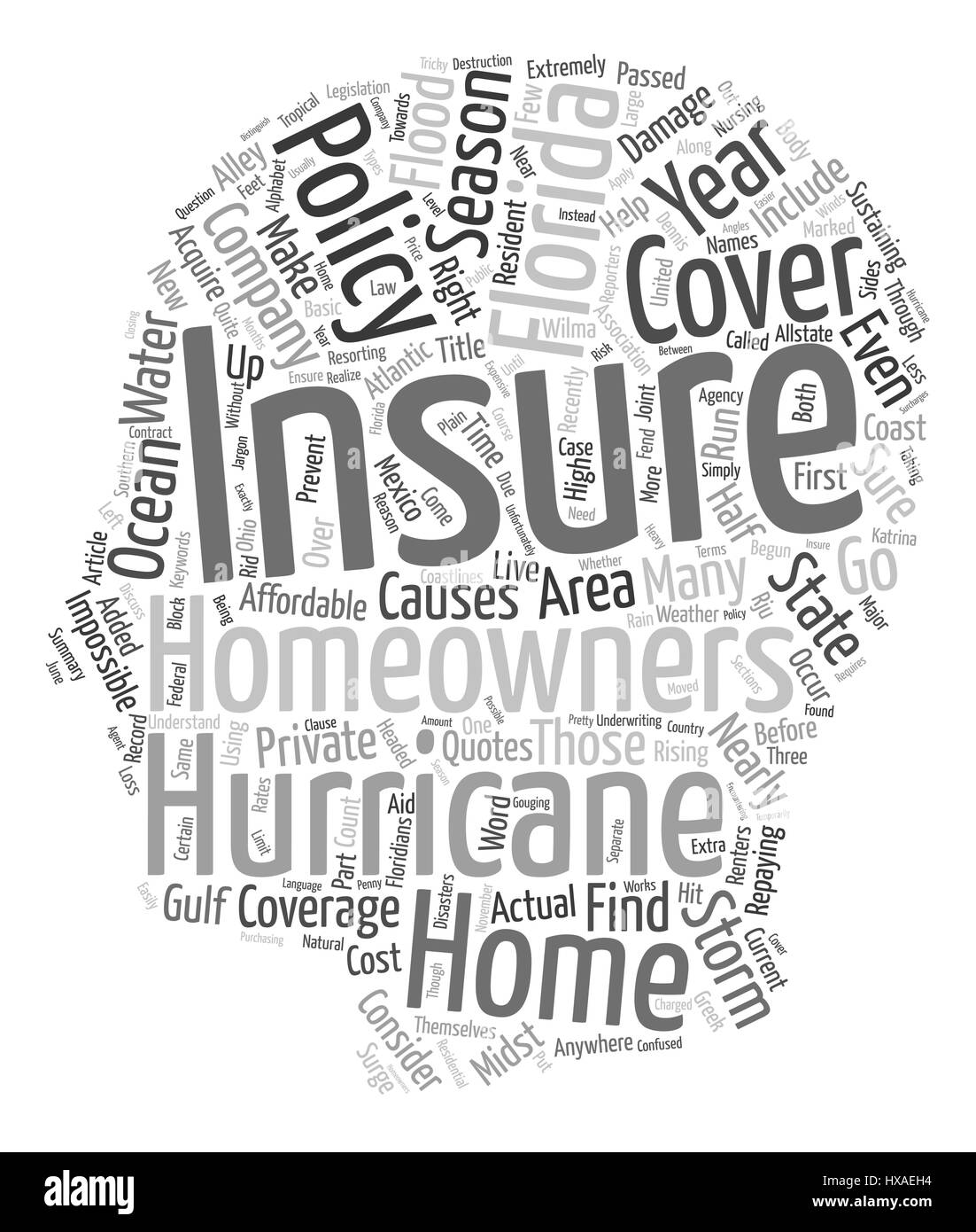 Florida Homeowners Insurance Coverage text background wordcloud concept - Stock Image