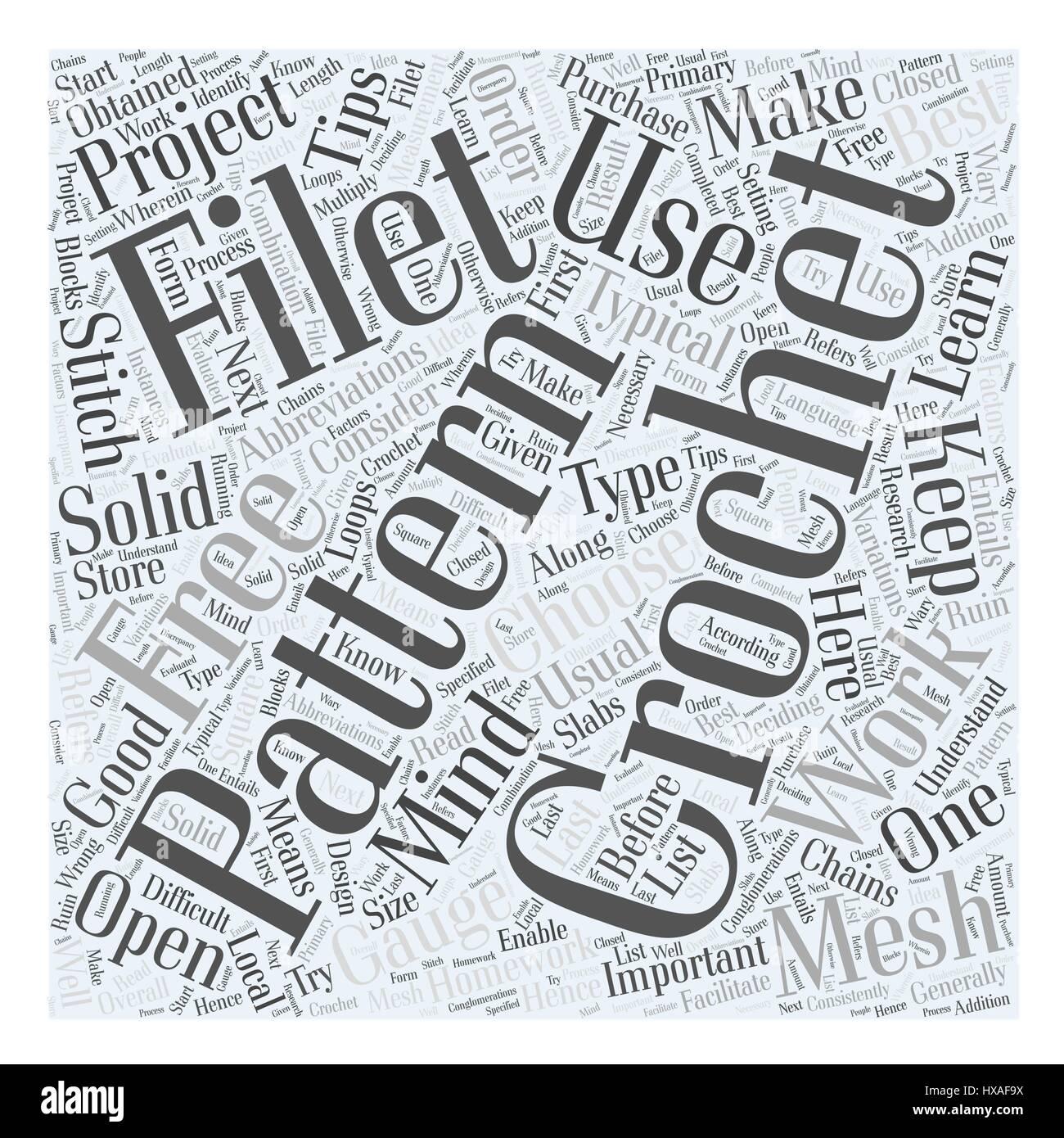 Free Filet Crochet Pattern Word Cloud Concept Stock Vector Art