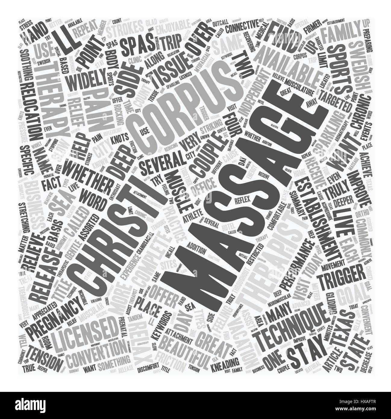 Get A Massage In Corpus Christi text background wordcloud concept - Stock Vector