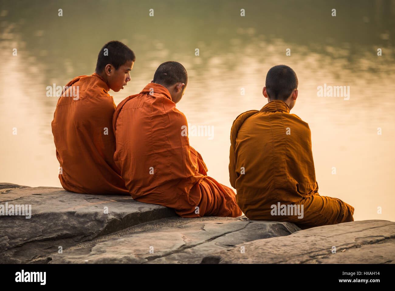 Monks in the Angkor Wat, Siem Reap, Cambodia, Asia. - Stock Image