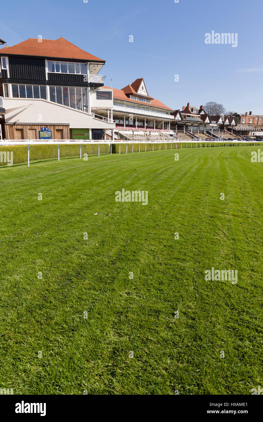 Chester Racecourse or the Roodee the oldest flat racing race track in England - Stock Image