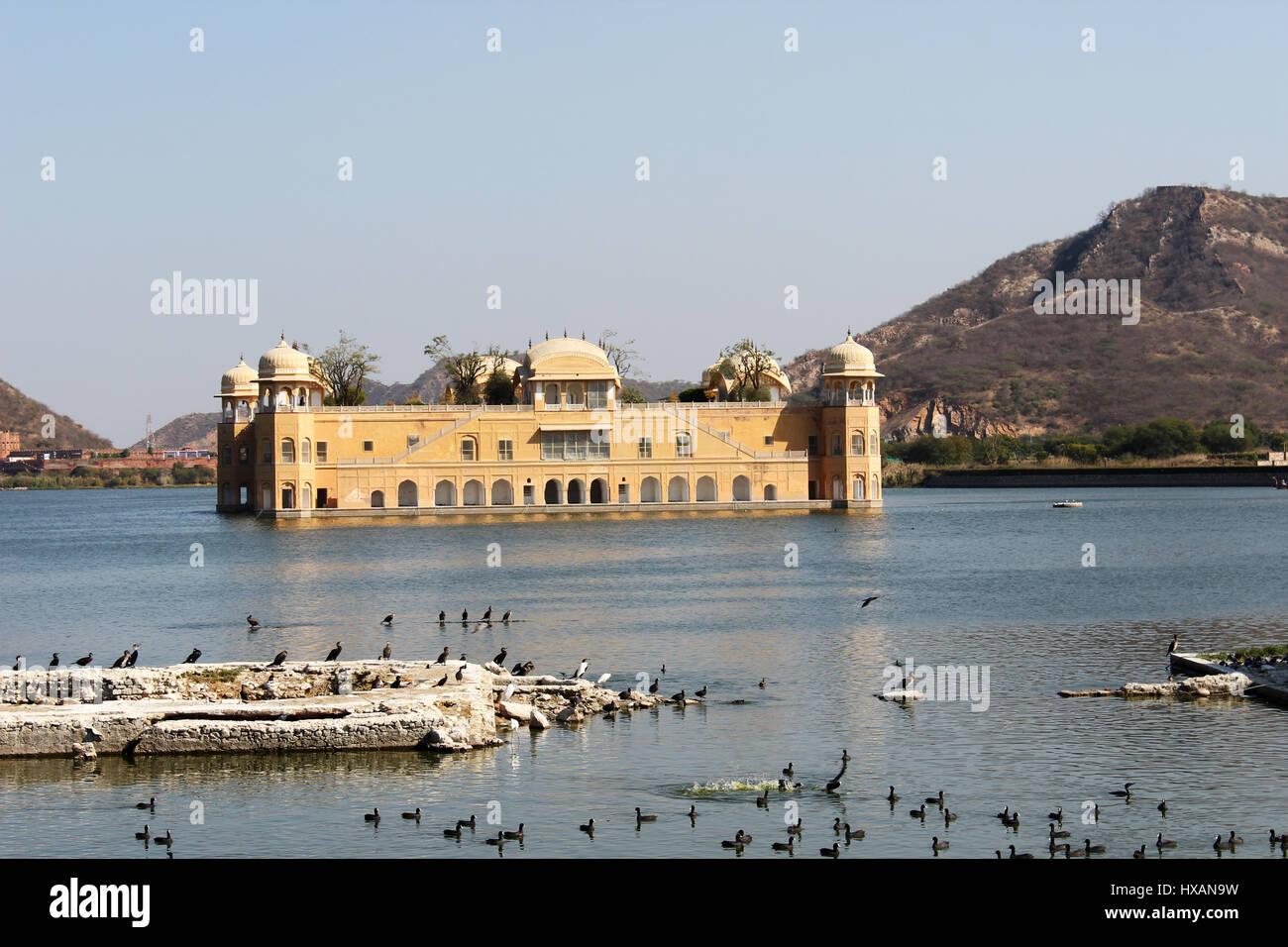 Jai Singh's Jal Mahal ,ManSagar lake, Jaipure, Rajastan, India. - Stock Image