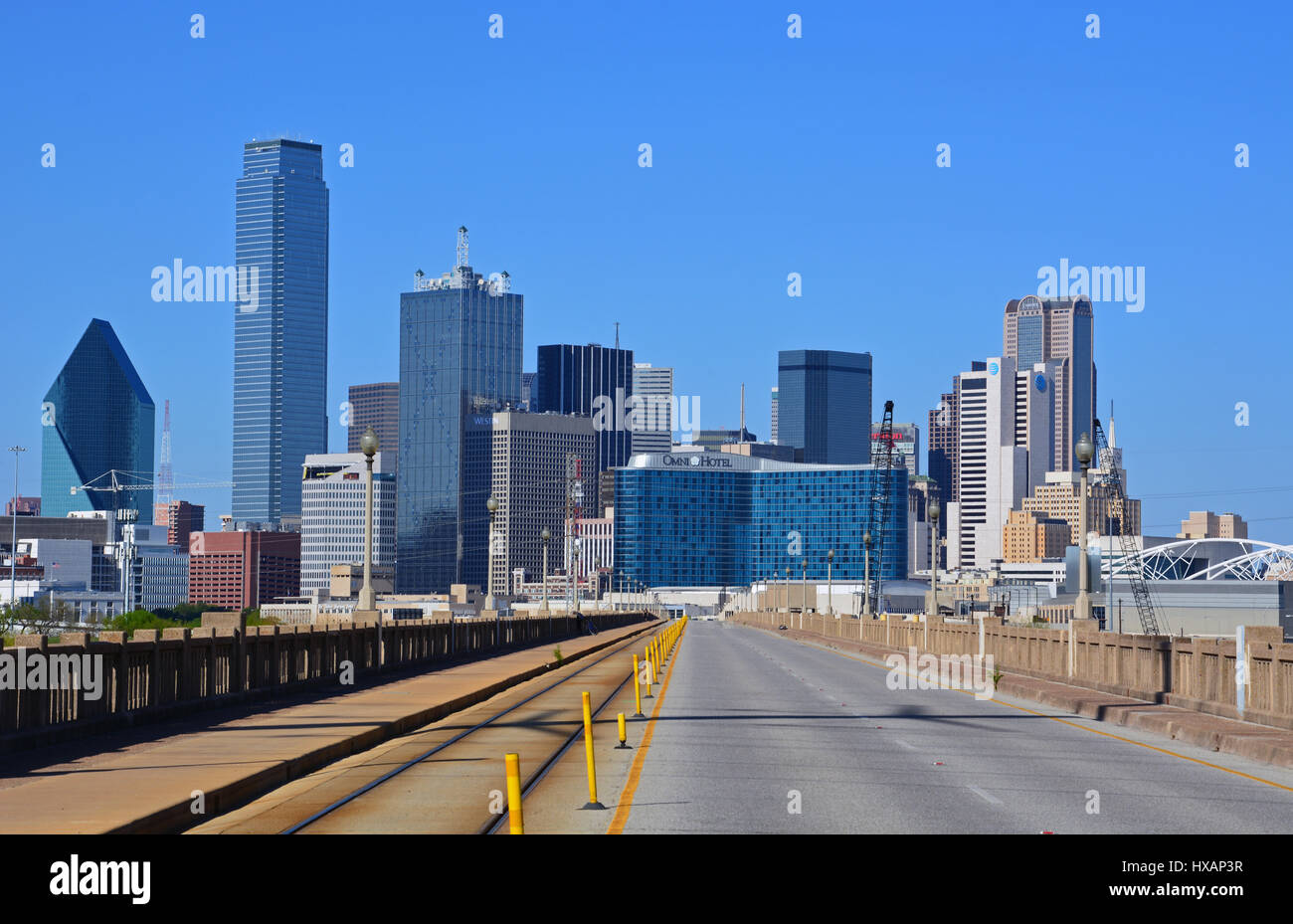 The Downtown Skyline Rises Above Oak Cliff Viaduct On South West Side Of