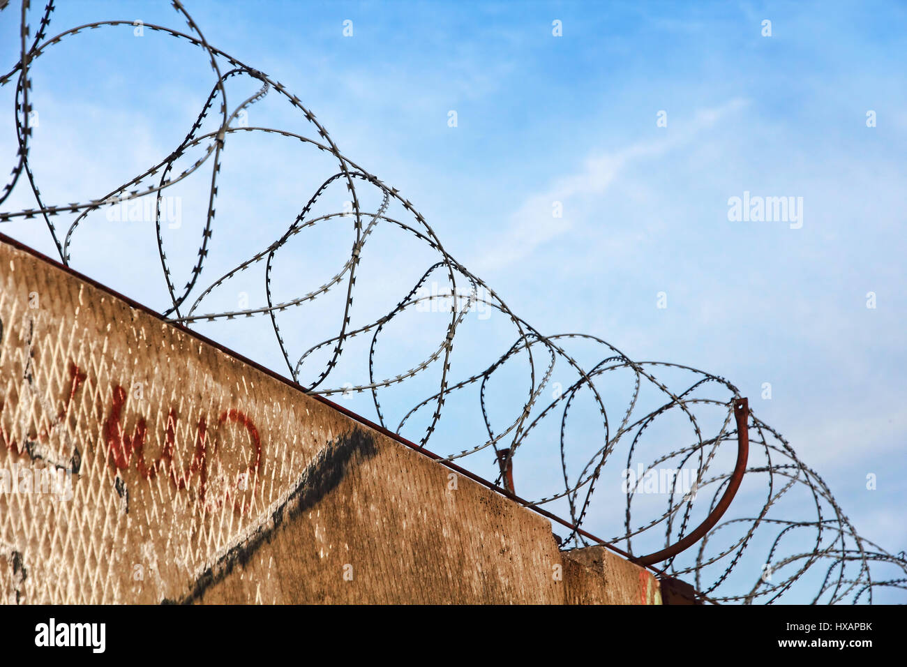 Barbed wire fence detail against of the blue sky taken closeup. - Stock Image