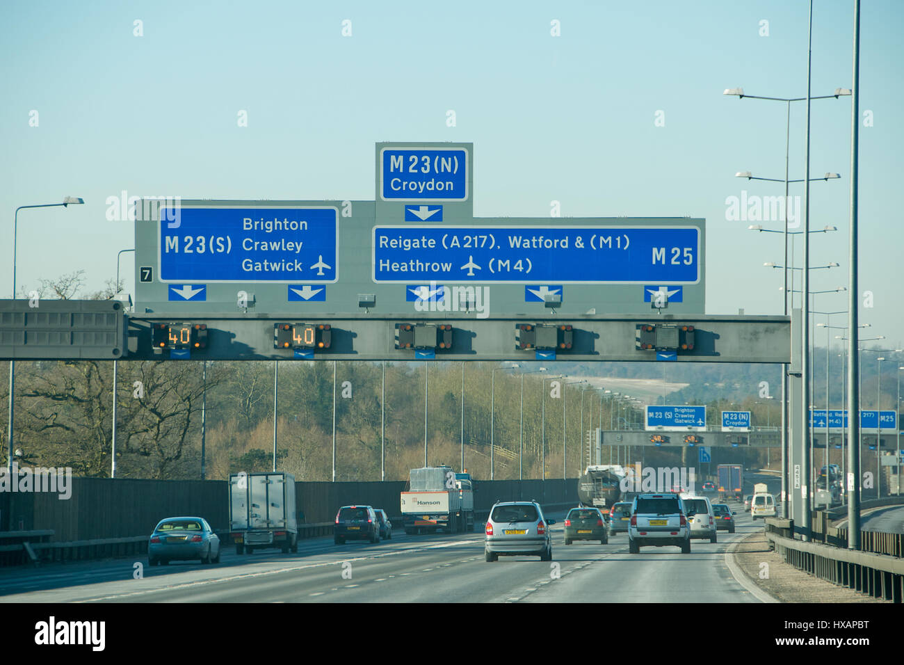 The M25 motorway in Surrey, England - Stock Image