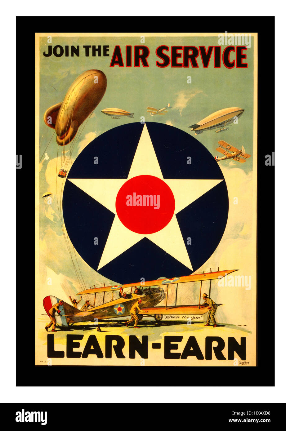 1900's Vintage recruitment American USA First World War Poster WW I Poster: Join the Air Service Learn-Earn - Stock Image