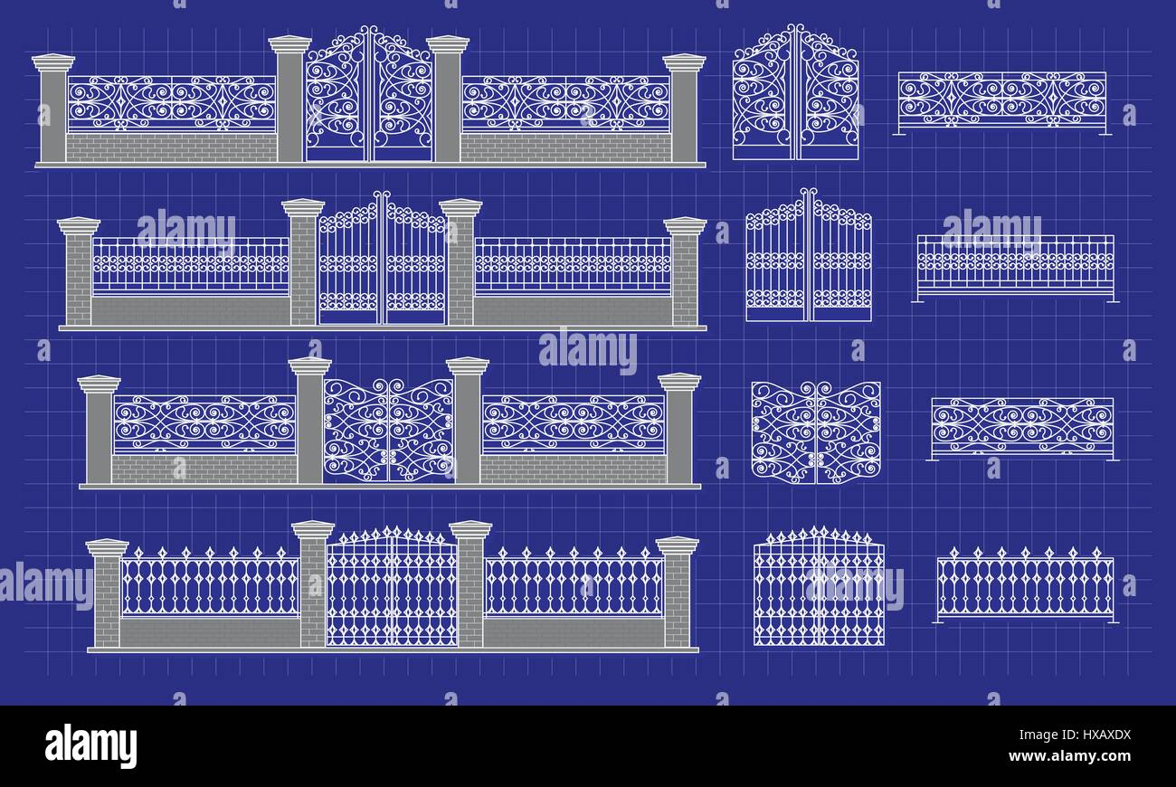 Architectural detail and blueprint of fence vector stock vector art architectural detail and blueprint of fence vector malvernweather Gallery