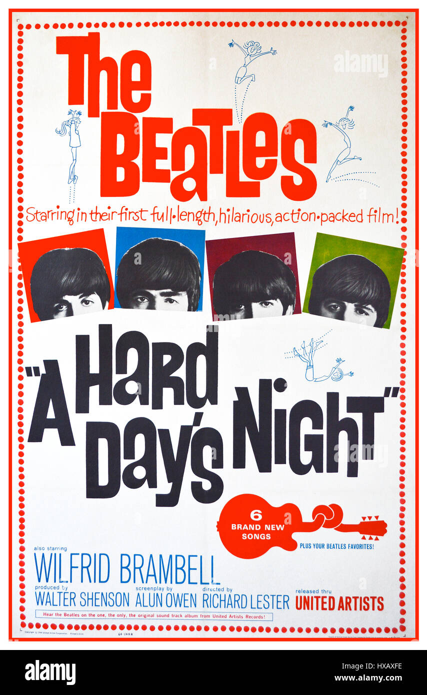 1960s THE BEATLES Vintage movie poster 'A Hard Day's Night' 1964 ‧ Indie film / Comedy music - Stock Image