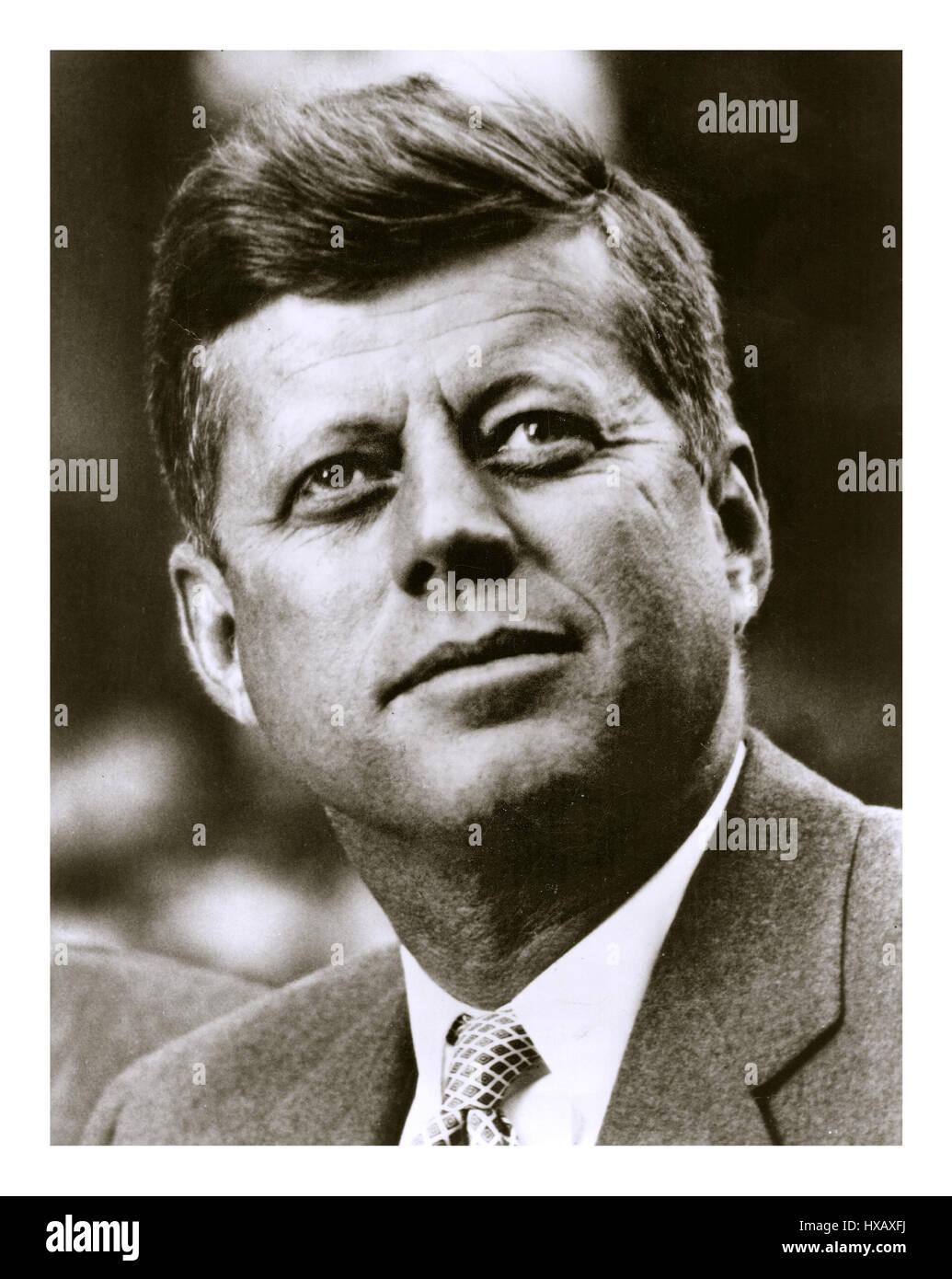 President John F. Kennedy Sept 1961 Informal head and shoulder b&w portrait exterior outdoors. - Stock Image
