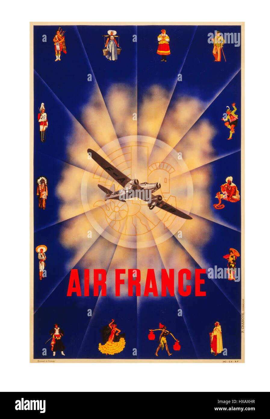 Vintage travel poster 1930\'s Air France Art Deco travel poster Stock ...