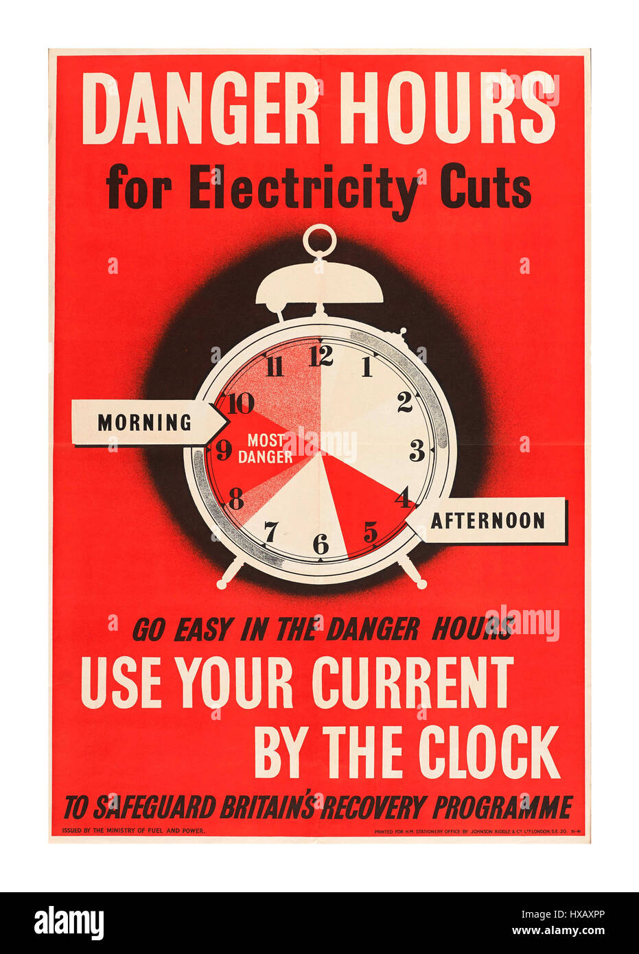 Vintage 1940's WW2 poster advising of possible electricity cuts in peak hours - Stock Image