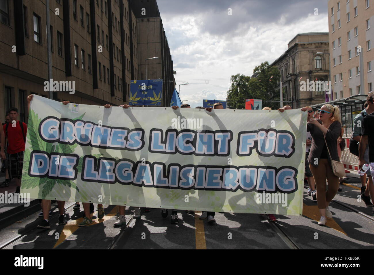 Berlin, Germany, August 9th, 2014: Hemp parade rally held for legalisation of cannabis. Stock Photo