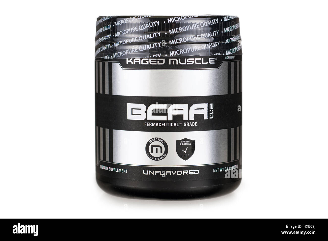BCAA, Branched Chain Amino Acids powder, Jar Container - Stock Image