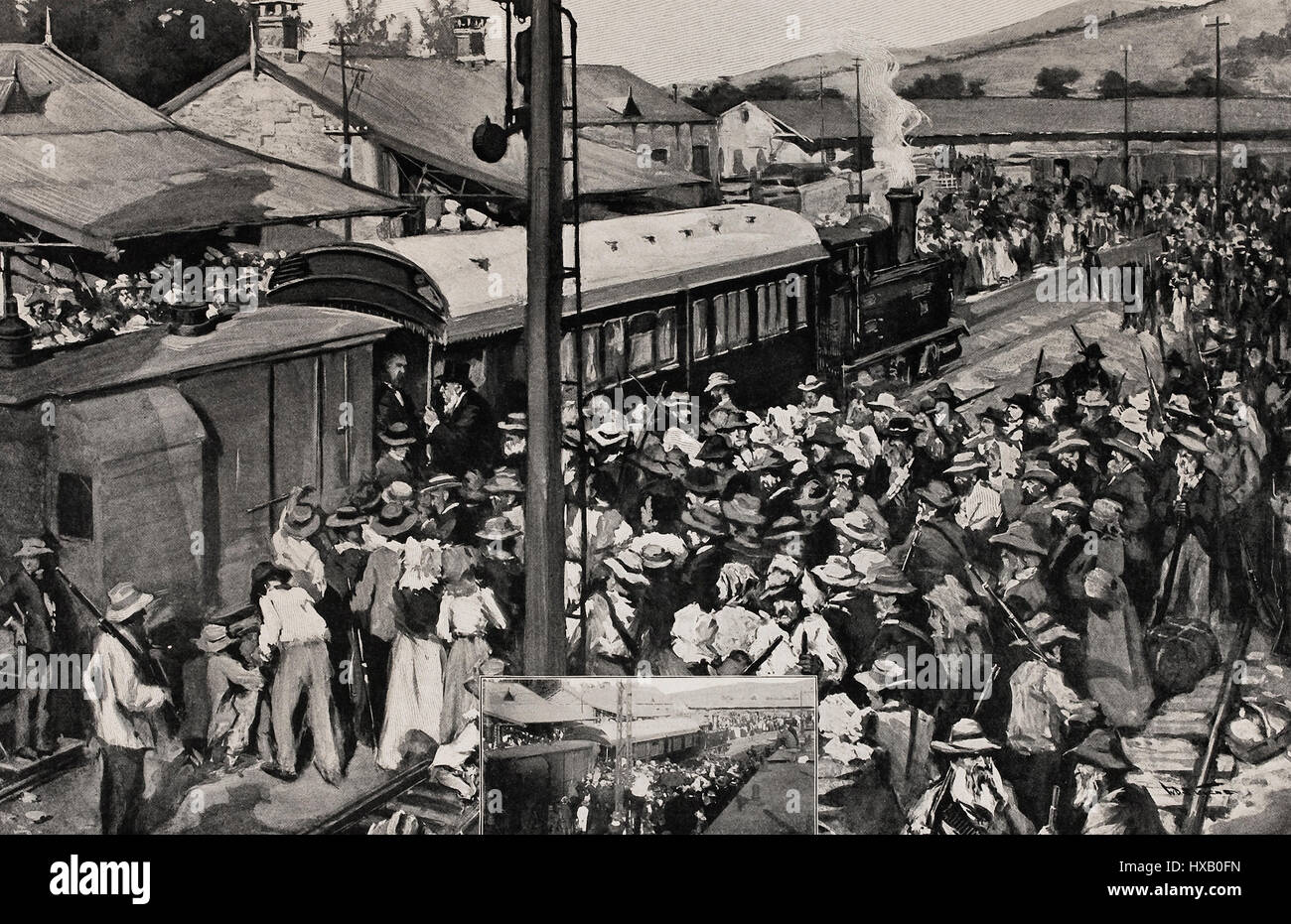 President Kruger and Officials leaving Pretoria by special train upon hearing of the Occupation of Johannesburg - Stock Image