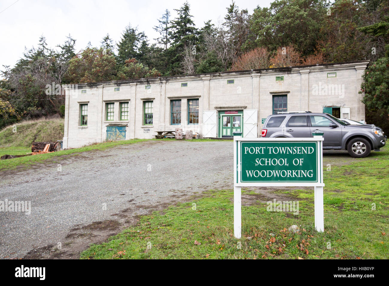 Port Townsend School of Woodworking at Fort Worden in Washington State Park. - Stock Image