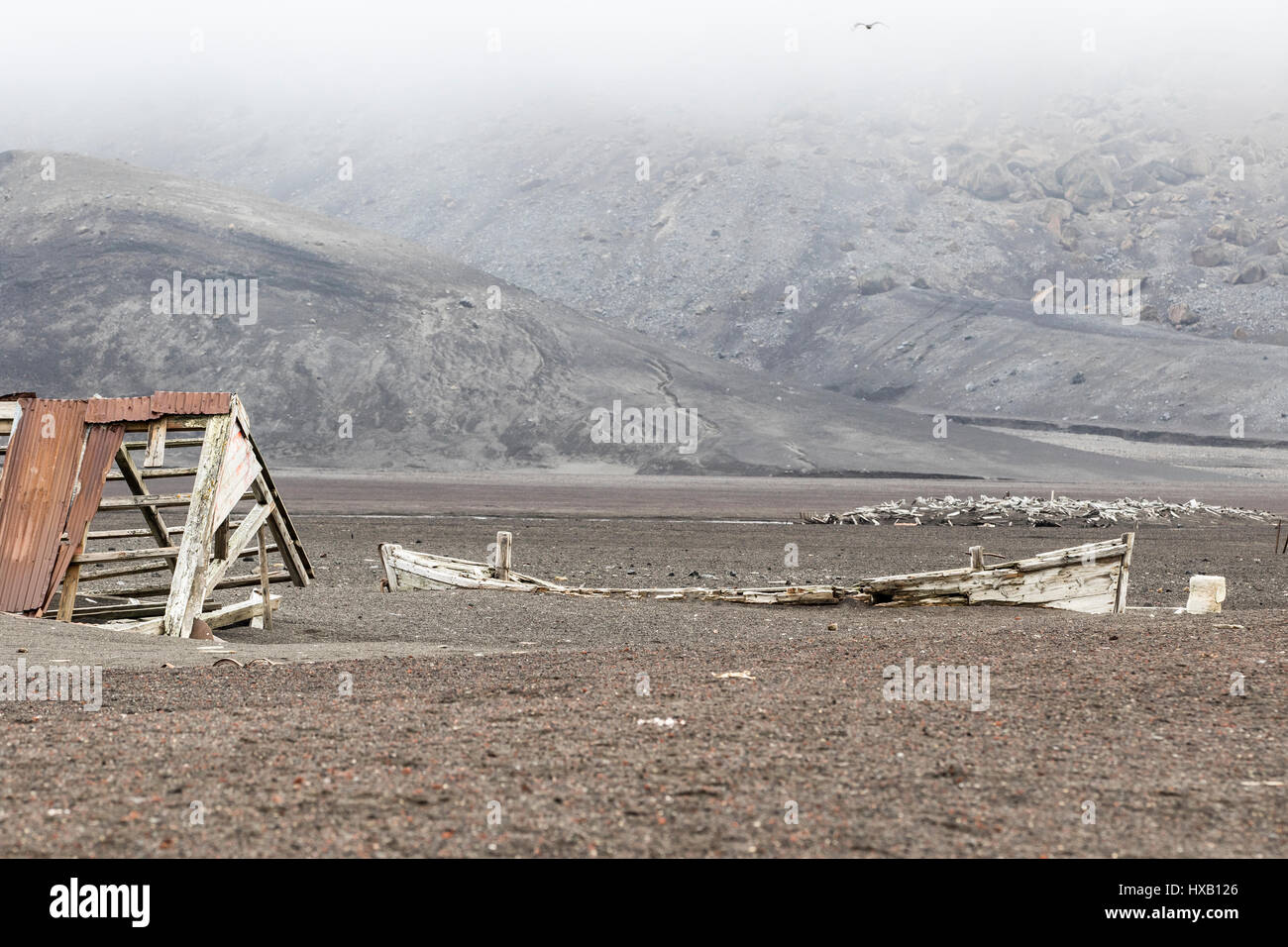 Antarctica Deception Island. Old whaling station ruins and artifacts. - Stock Image