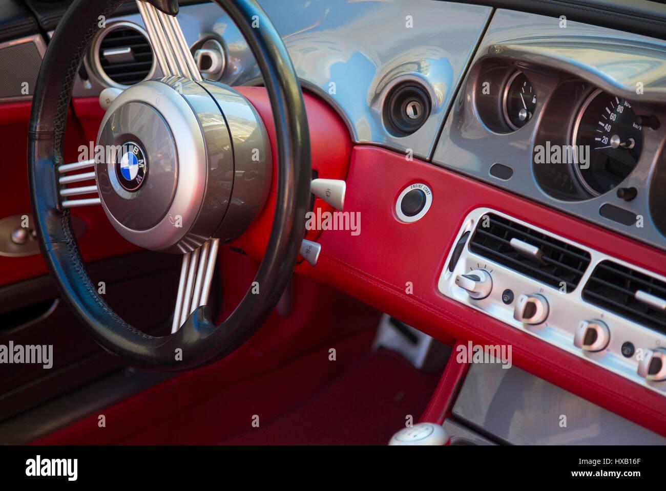 Classic Retro Interior Steering Wheel Stock Photos