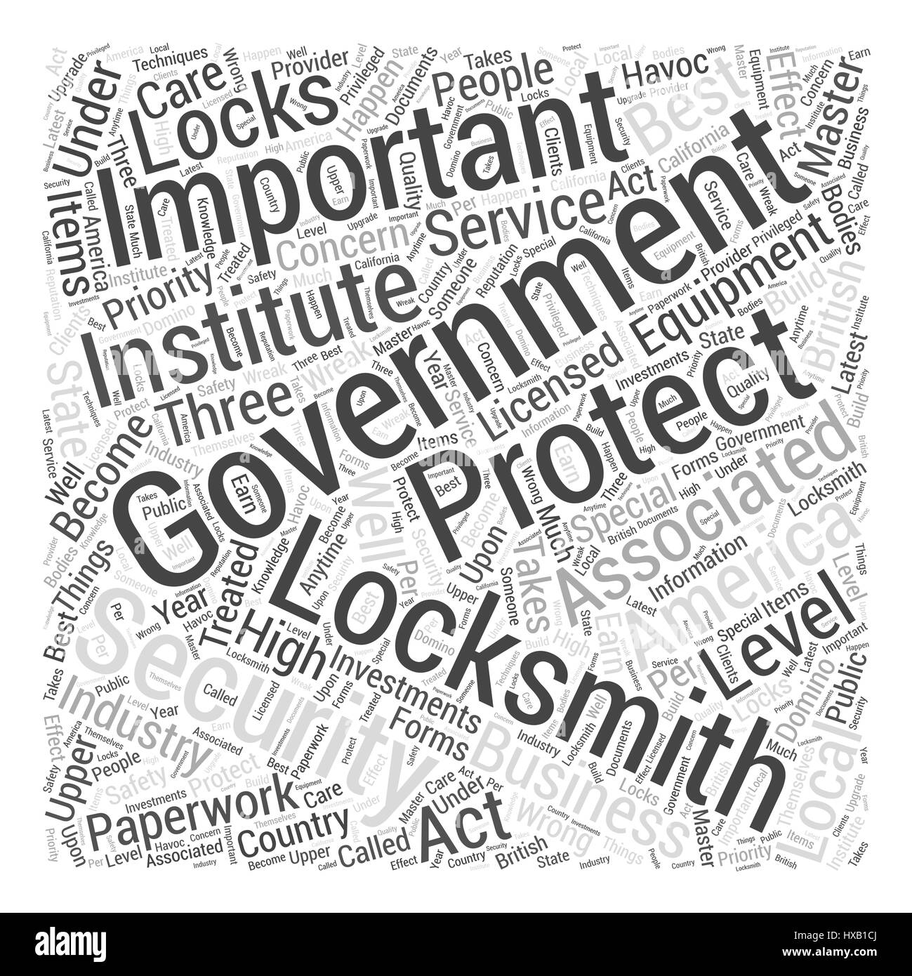 Government Locksmiths Word Cloud Concept - Stock Vector