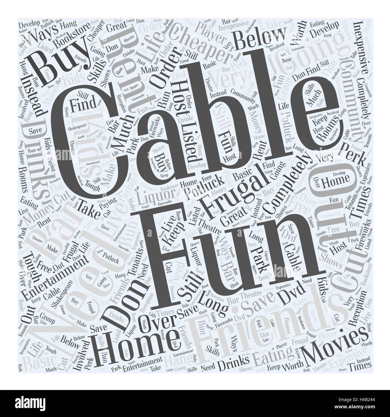 Have Fun Frugally Word Cloud Concept - Stock Image