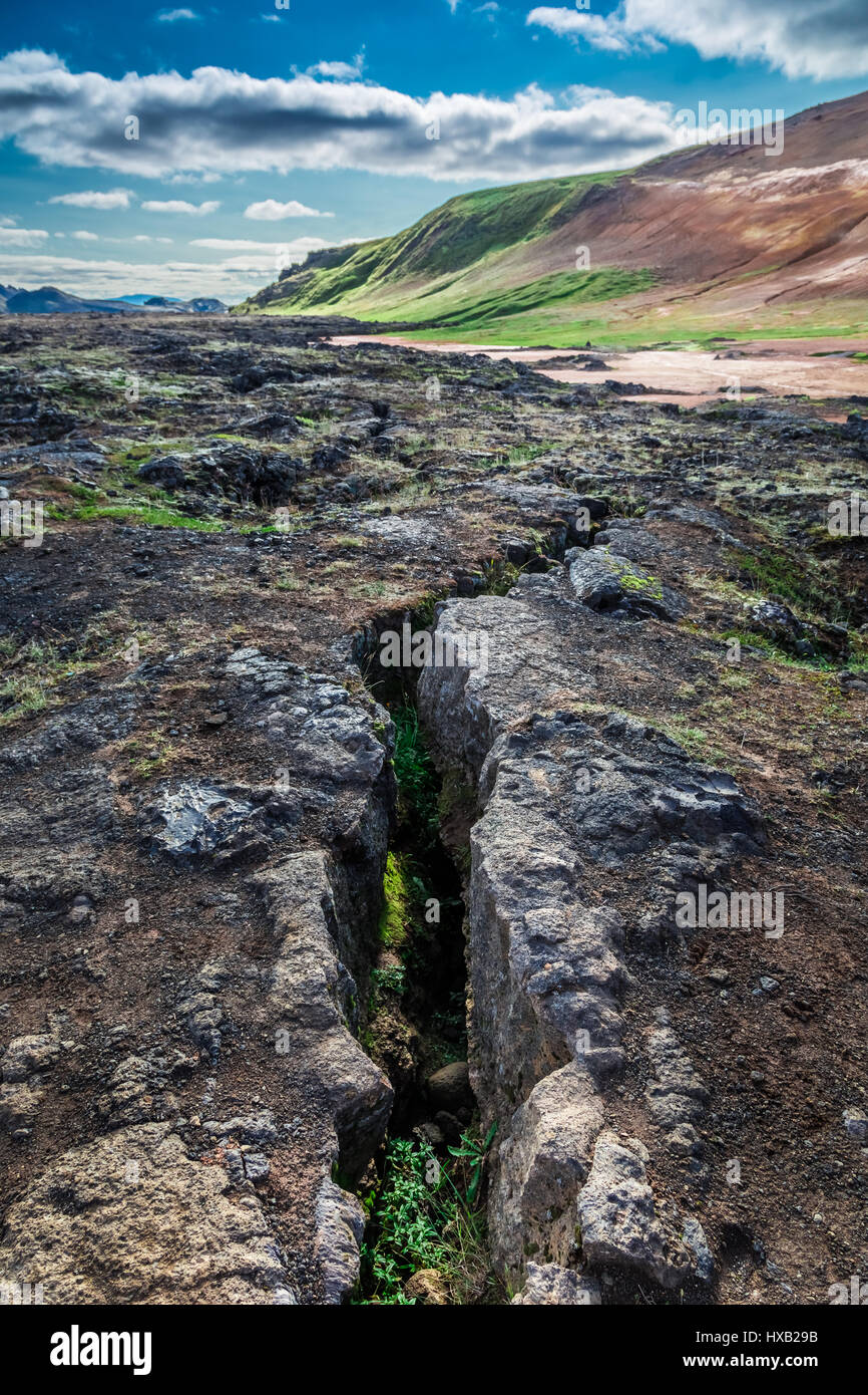 Cracks in the ground on a seismically active Iceland - Stock Image