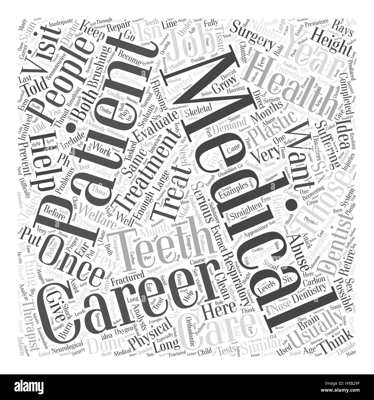 Health and Medical Careers Word Cloud Concept - Stock Image
