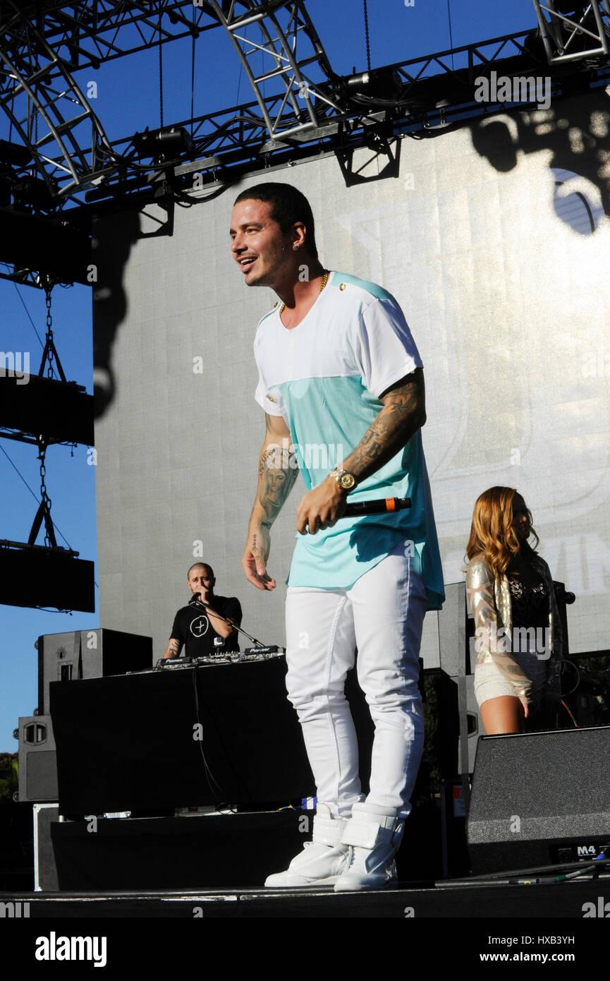 J Balvin El Negocio performs during Univision Radio's 2014 Uforia Music Festival at Exposition Park on August - Stock Image