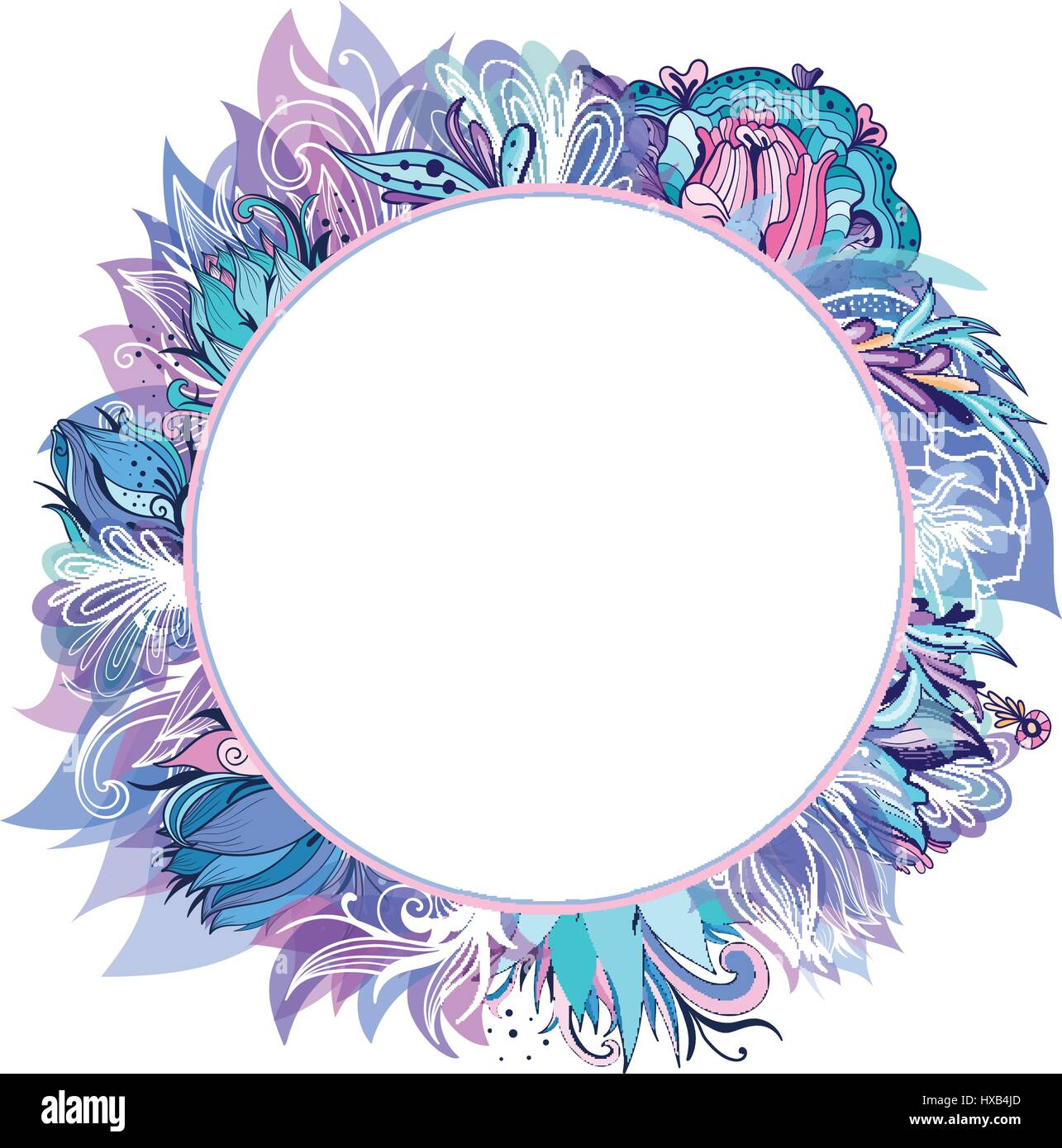 Circle Frame With Blue And Purple Lotus Lily And Peony Sketch Stock