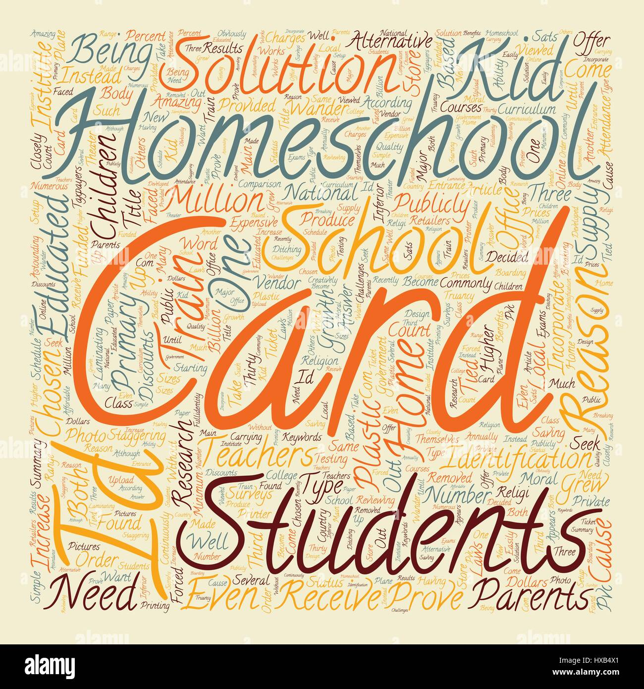 Homeschool ID Cards text background wordcloud concept - Stock Image