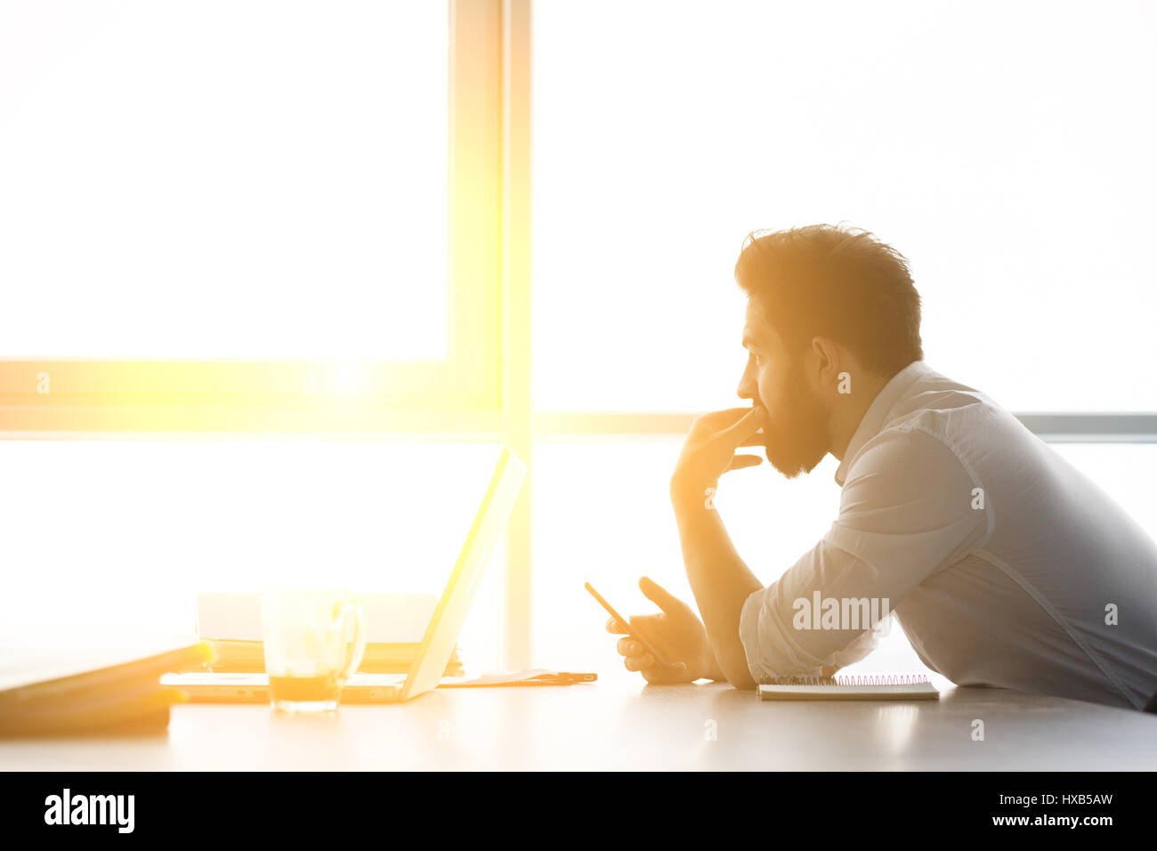 Worker waiting for interview - Stock Image