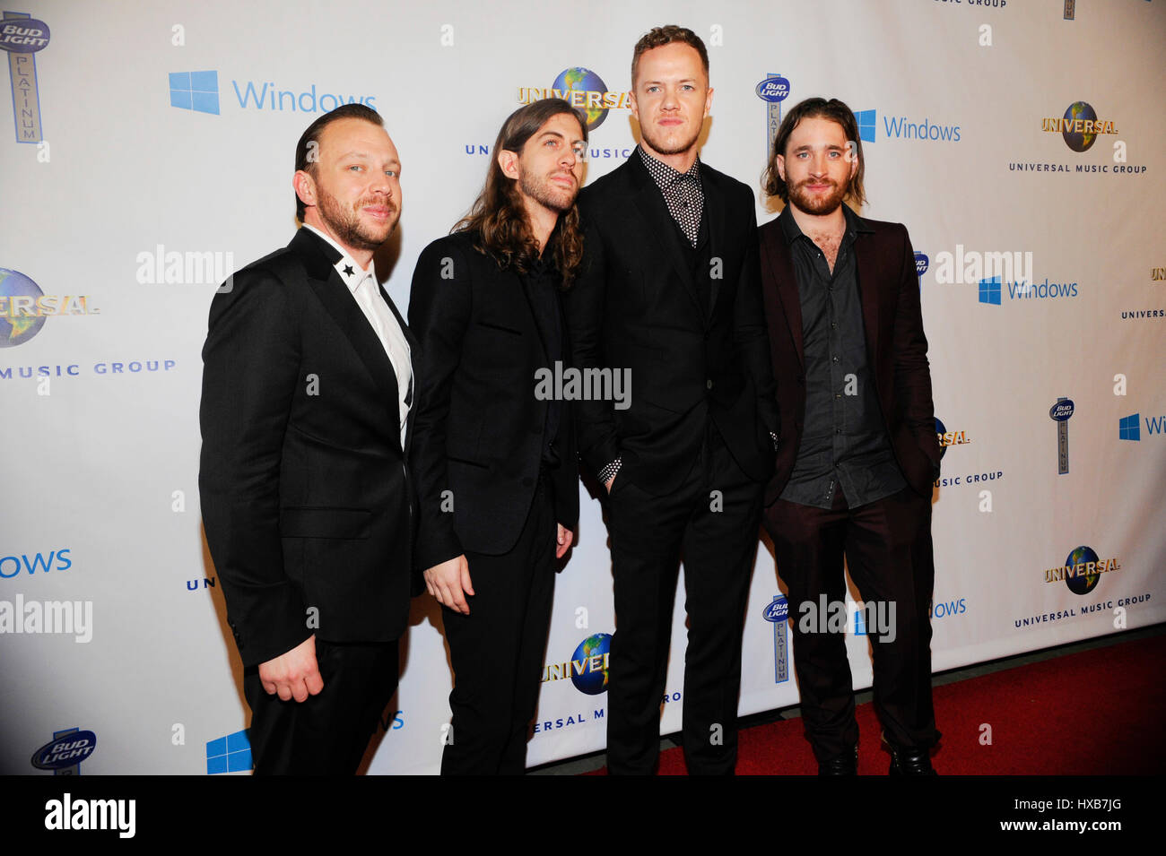 Imagine Dragons attend the Universal Music Group GRAMMY Afterparty at the Ace Hotel on January 26, 2014 in Los Angeles, - Stock Image