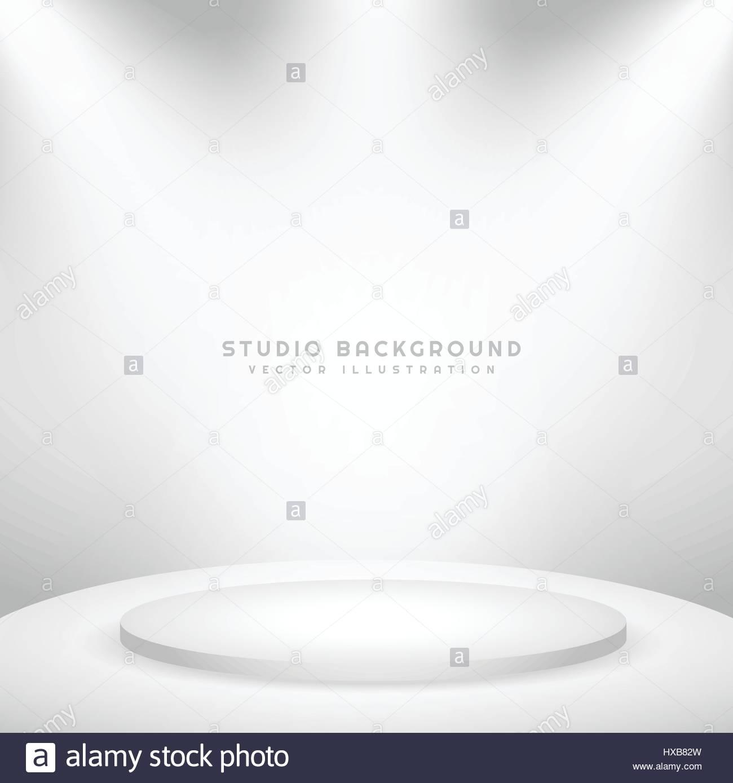white studio background with podium - Stock Vector